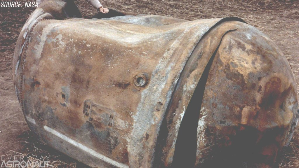 This is the main propellant tank of the second stage of a Delta 2 launch vehicle which landed near Georgetown, TX, on 22 January 1997. This approximately 250 kg tank is primarily a stainless steel structure and survived reentry relatively intact.