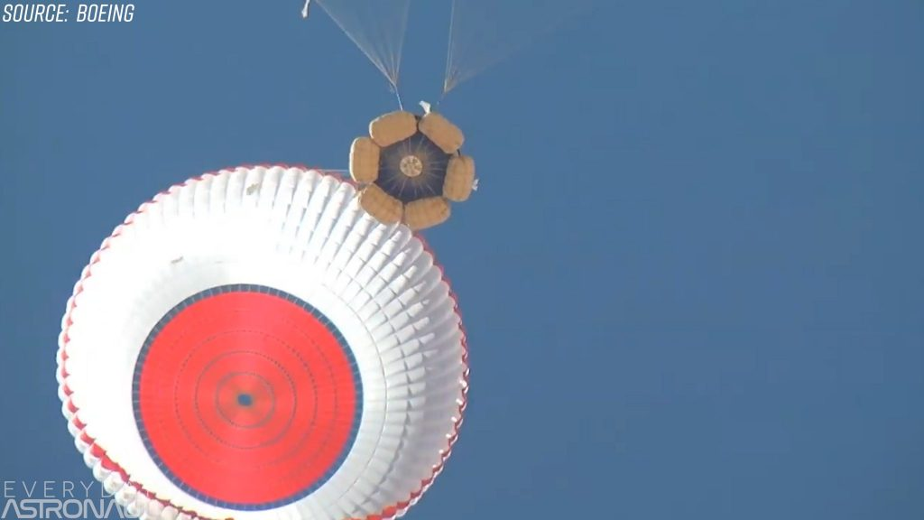 Boeing Starliner parachutes and airbag landing