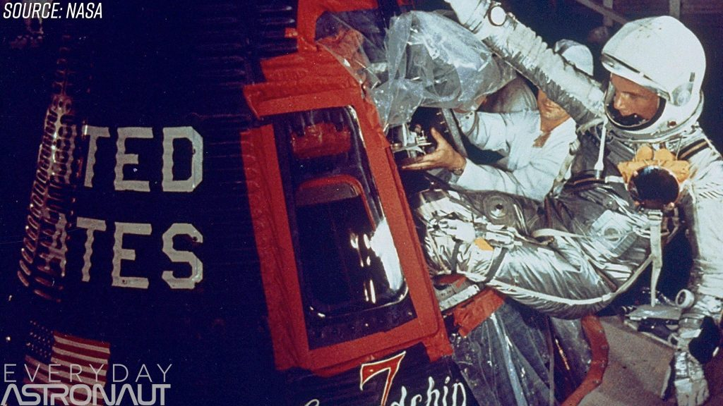 John Glenn boards the mercury capsule windows abort system