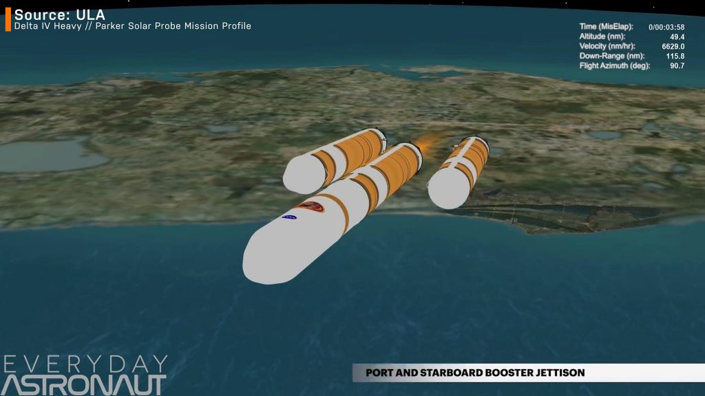 Delta IV Heavy booster separation