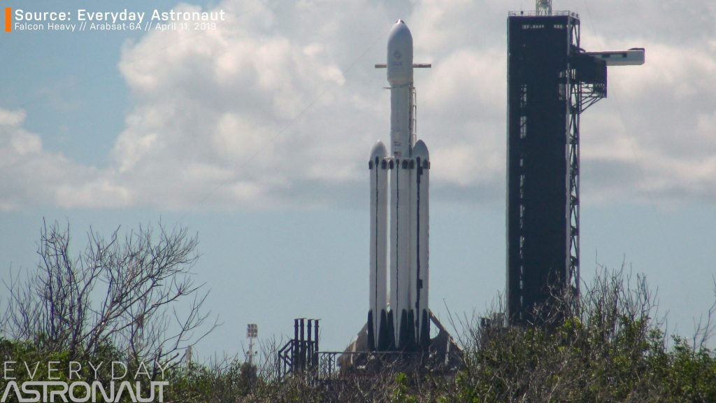 Falcon Heavy block 5 on the launch pad raceways