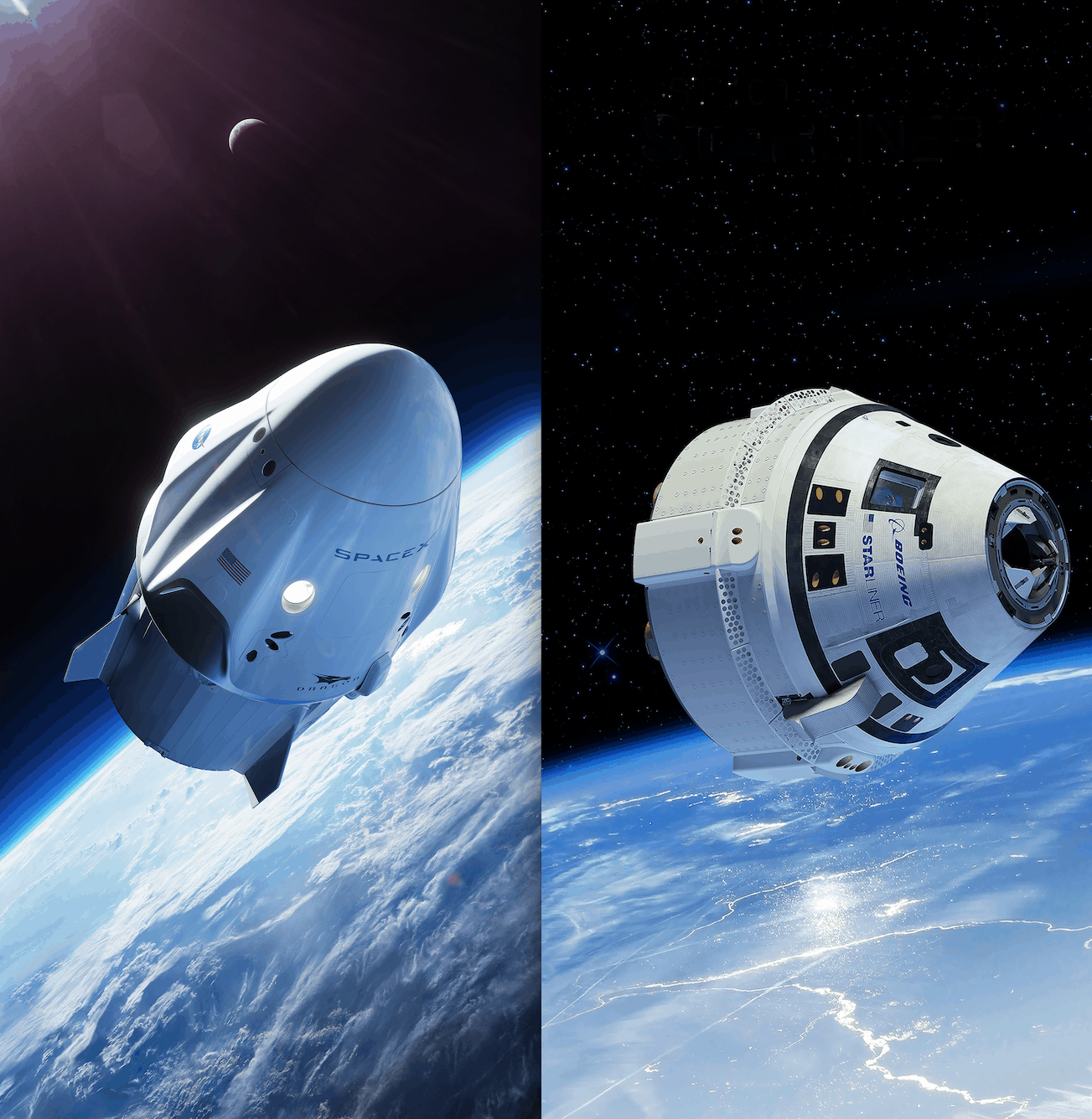 Side by side comparison of Crew Dragon and Starliner