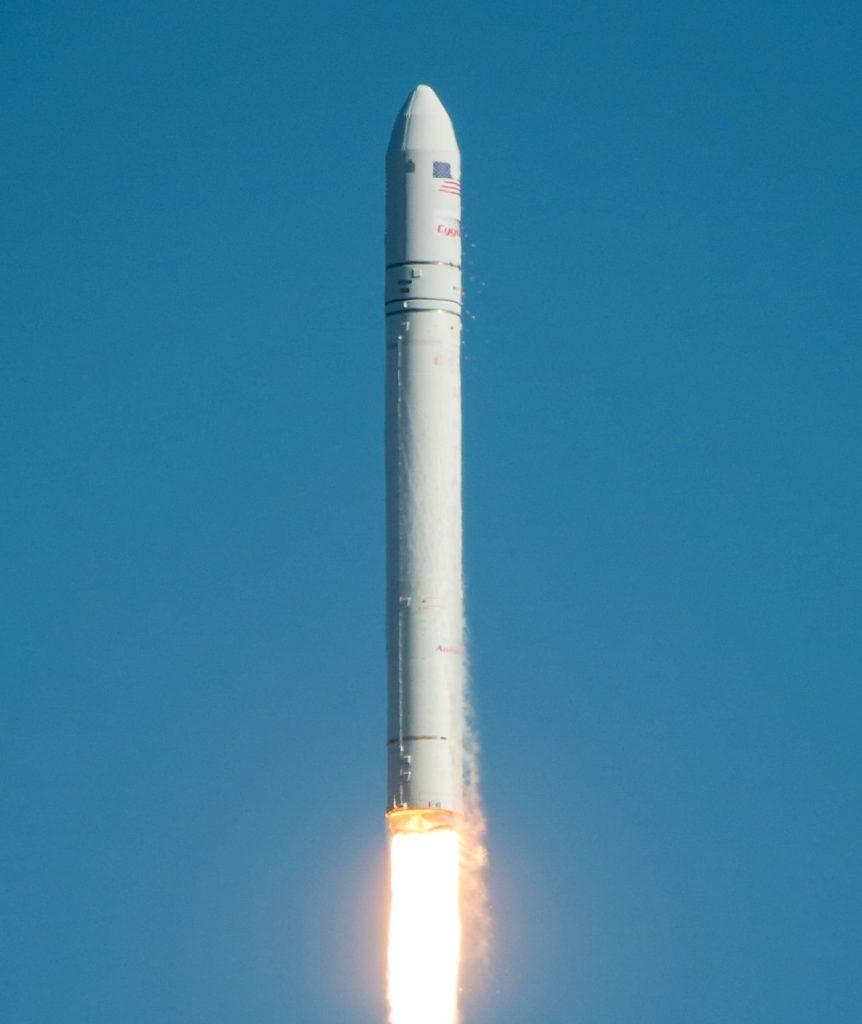 blue sky rocket white fire engine Rd-181 cygnus northrop grumman orbital ATK