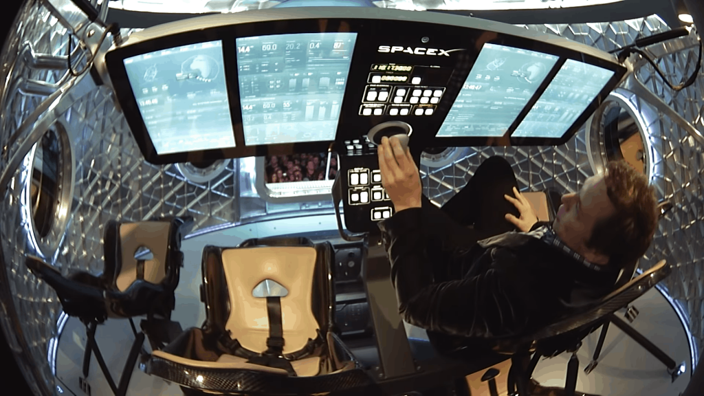SpaceX Crew Dragon Interior with Elon Musk
