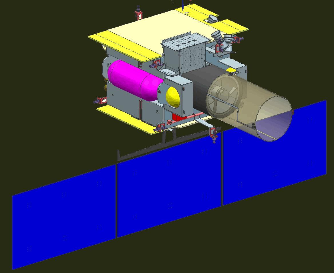 blue pink satellite ISRO telescope solar panels computer model yellow gray grey render space