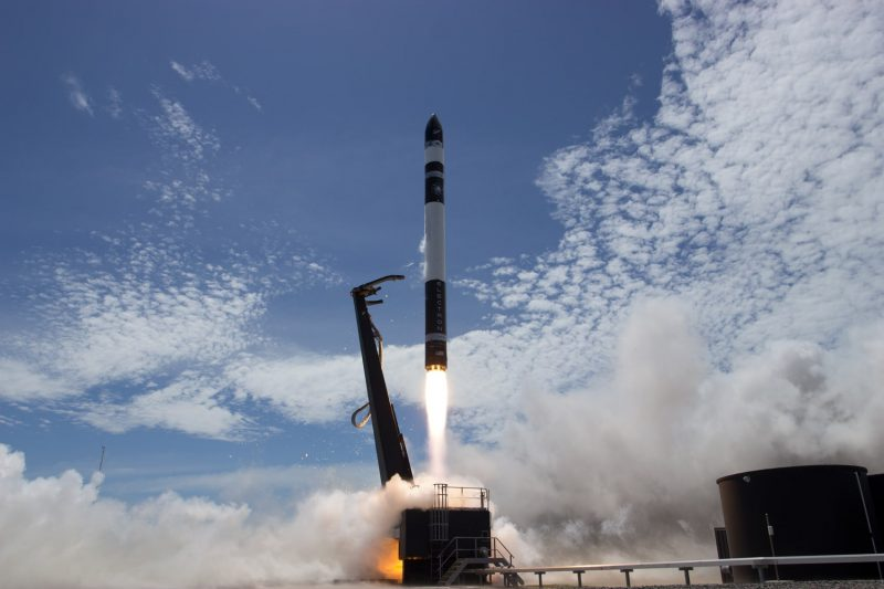 sky clouds rocket lab electron fire smoke launch pad