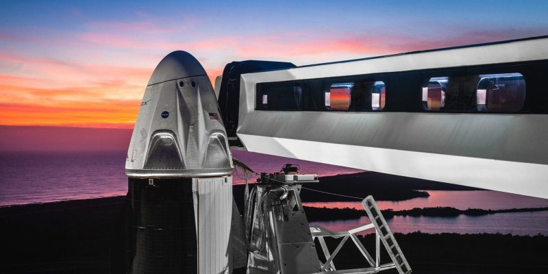 SpaceX Crew Dragon DM-1 on LC-39A with access arm
