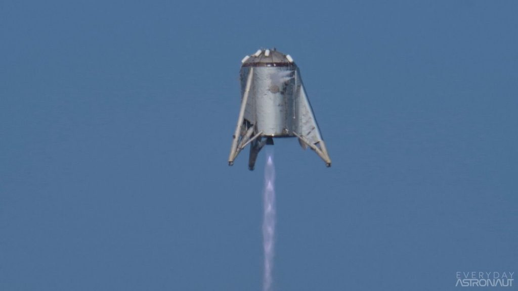 Starhopper in flight, or a water tower is flying in the air for some reason.