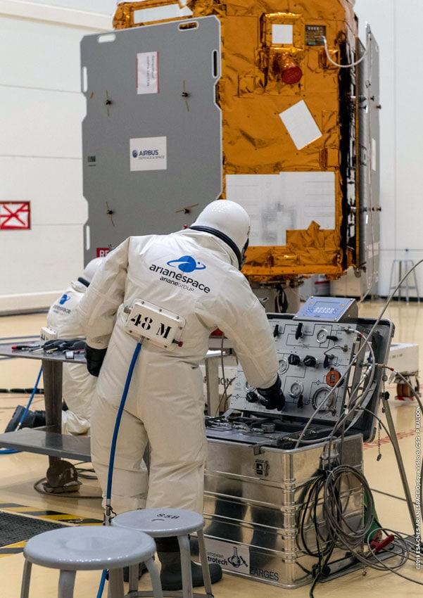 Falcon Eye 2 Satellite being inspected in white room