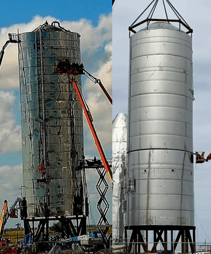 Starship Mk-1 and SN-1 compared, basically two silver grain silos.