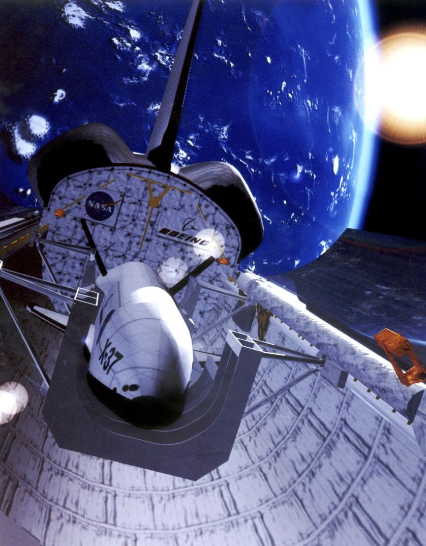 Concept of X-37B inside Shuttle's bay