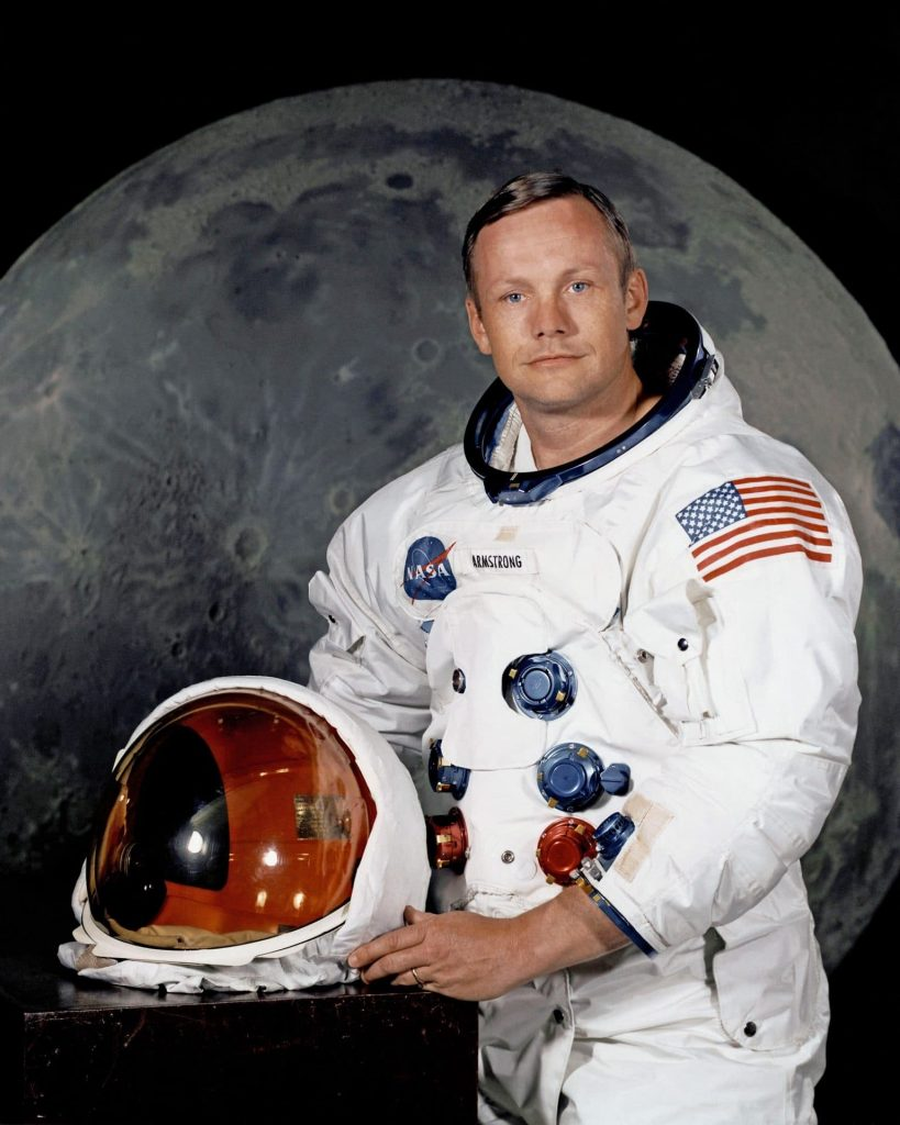 neil armstrong nasa moon helmet spacesuit moonwalk apollo first man american flag