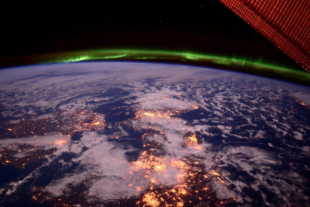northern lights iss earth space clouds ocean