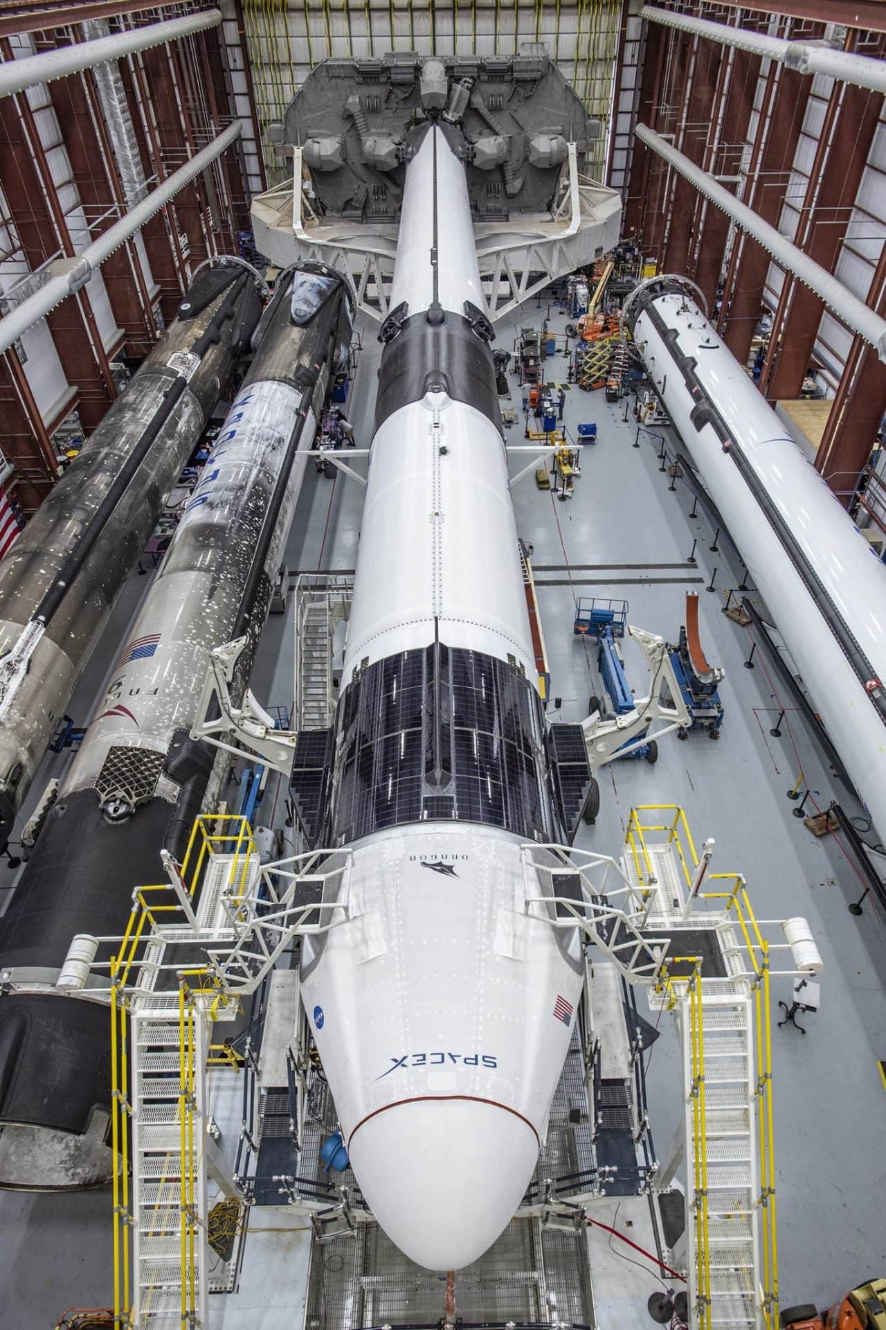 Dragon 2 and Falcon 9 in the hanger