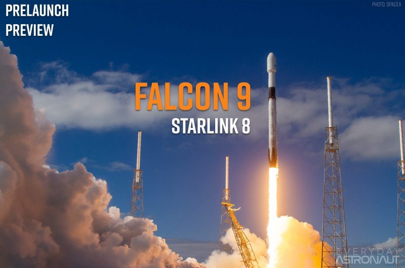 Starlink 8 leaving the pad with orange smoke