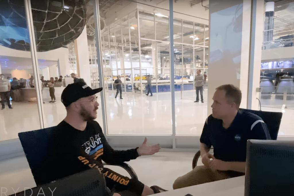 Tim Dodd interviews NASA Administrator Jim Bridenstine at SpaceX mission control room