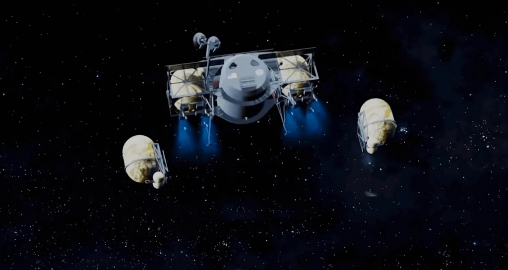 Dynetic lander with drop tanks