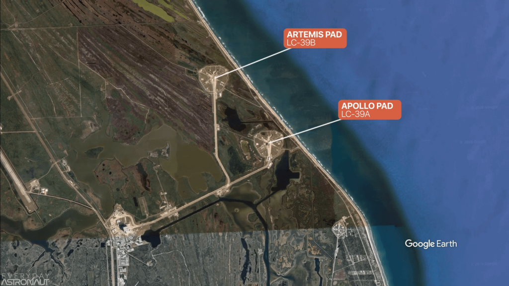 KSC LC39 A and B Launch Pad Locations