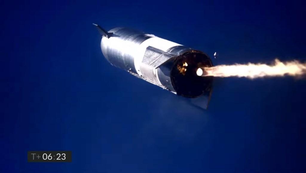 SpaceX Starship SN9 landing burn