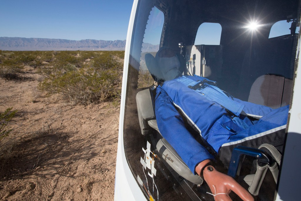 Mannequin Skywalker in New Shepard Crew Capsule, Blue Origin