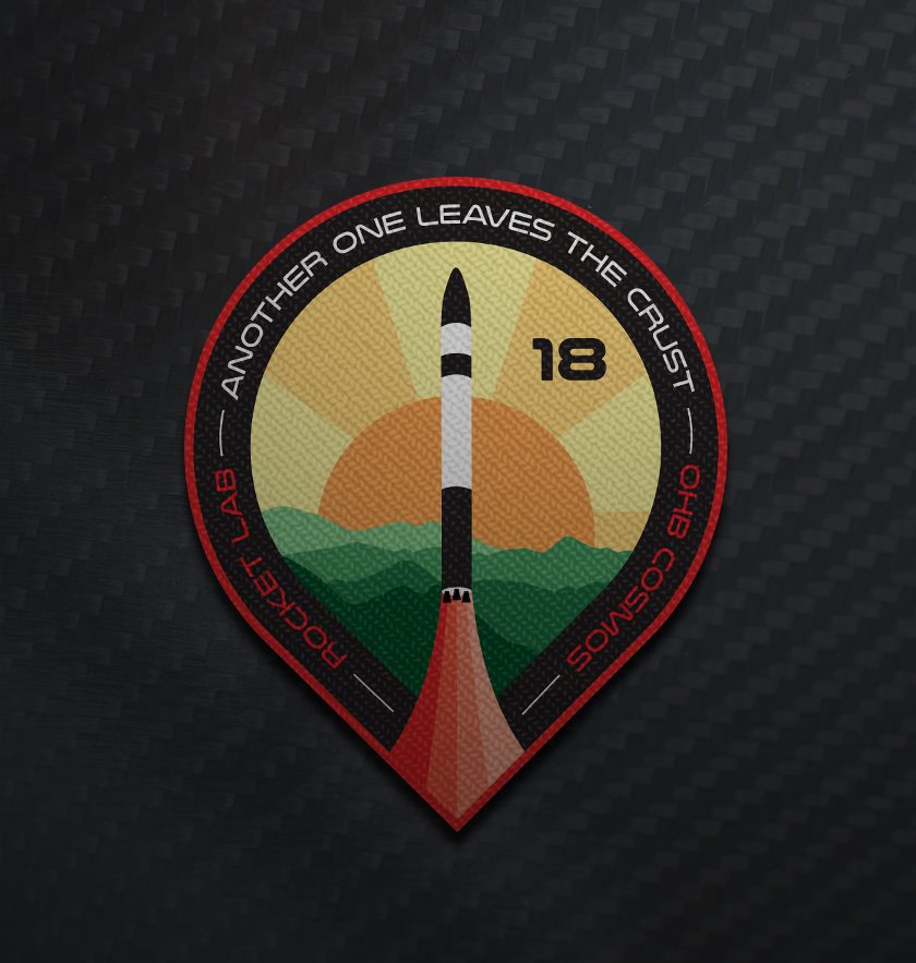 Another One Leaves The Crust mission patch. Rocket Lab 's 18th mission.