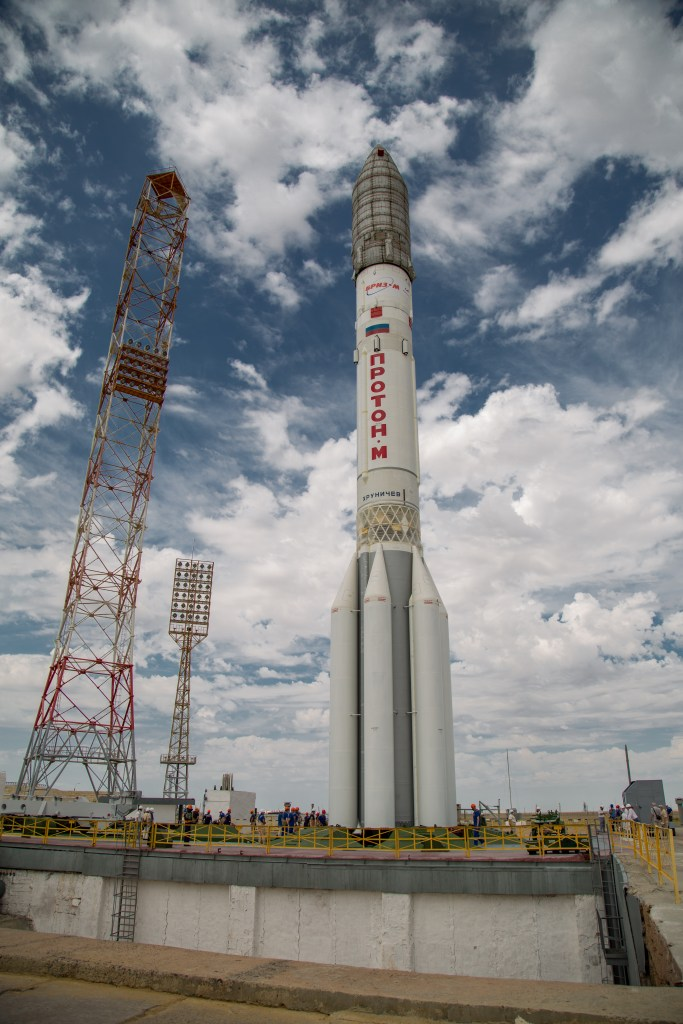The Proton-M rocket on the launch pad at the Baikonur Cosmodrome