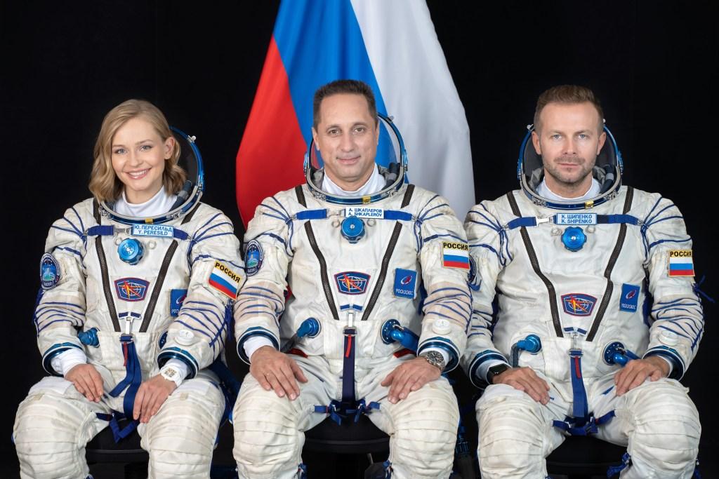 The main crew of the Soyuz MS-19 mission: Yulia Peresild, Anton Shkaplerov, Klim Shipenko