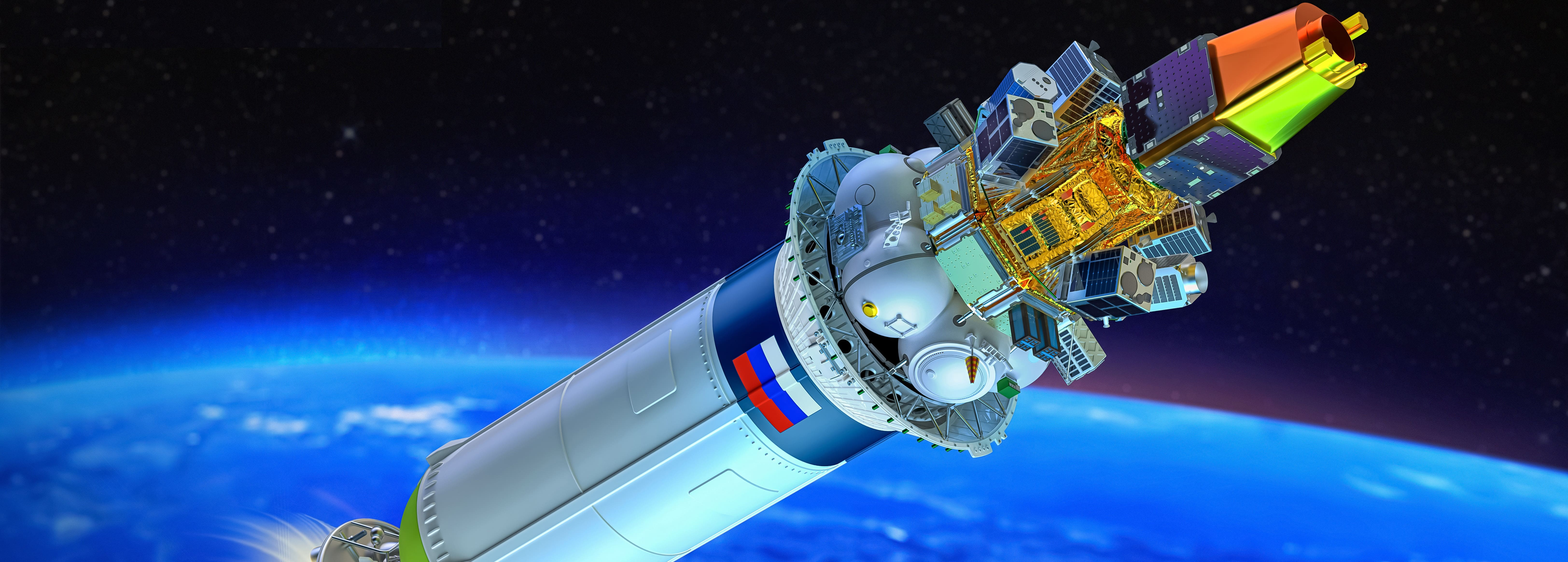 Render of the CAS500-1 & rideshare payloads on the Soyuz upper stage