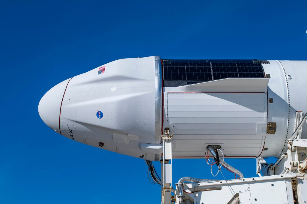 Cargo Dragon 2 atop a Falcon 9 Block 5 rocket before the CRS-21 mission