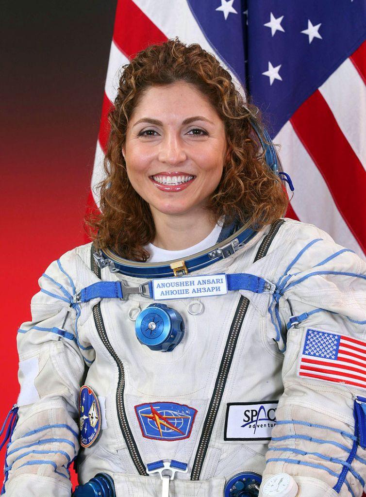 Anousheh Ansari in her Soyuz flight suit in 2006
