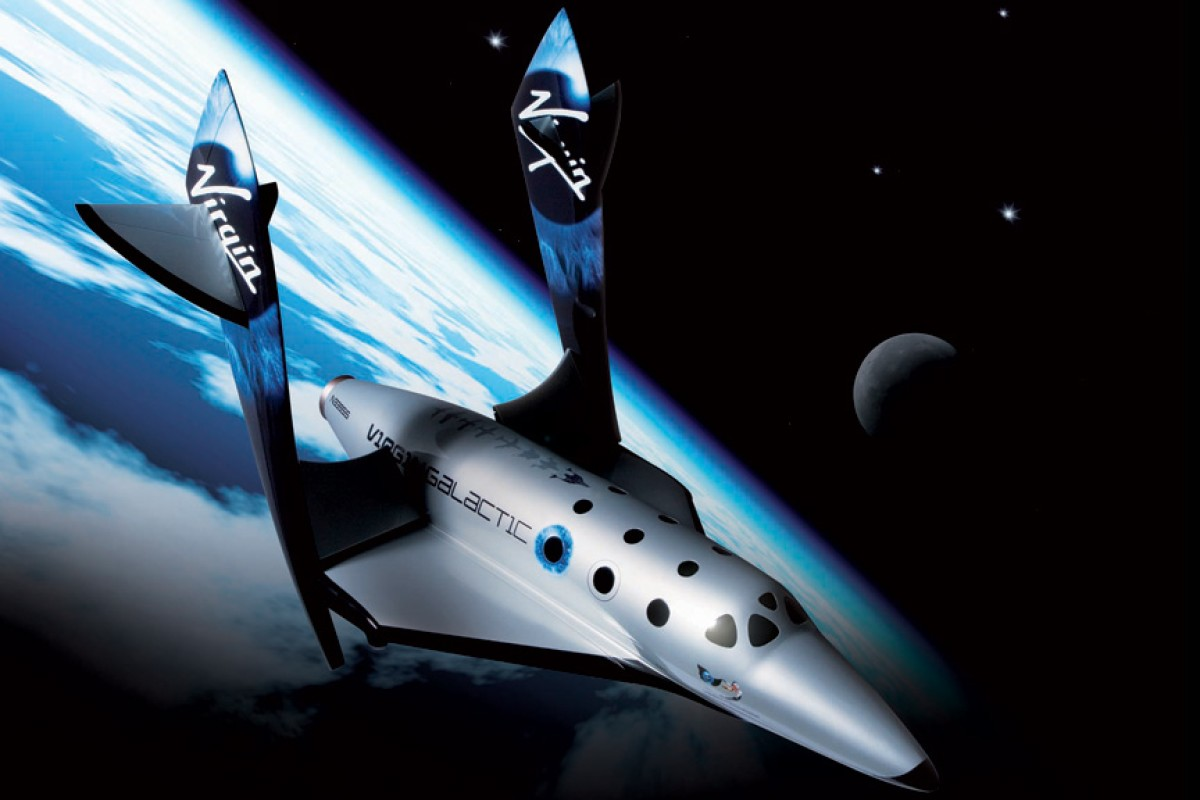 SpaceShipTwo in the feathered configuration